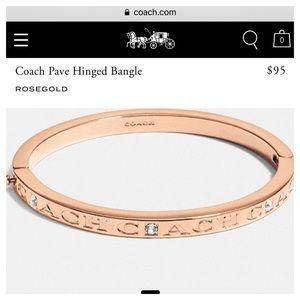 Coach bangle bracelet rose gold love diamonds